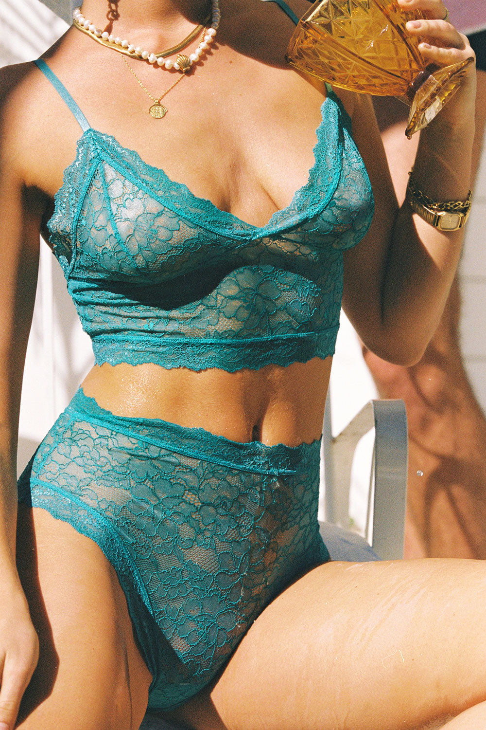 Faith Hi Waist Knickers in Teal
