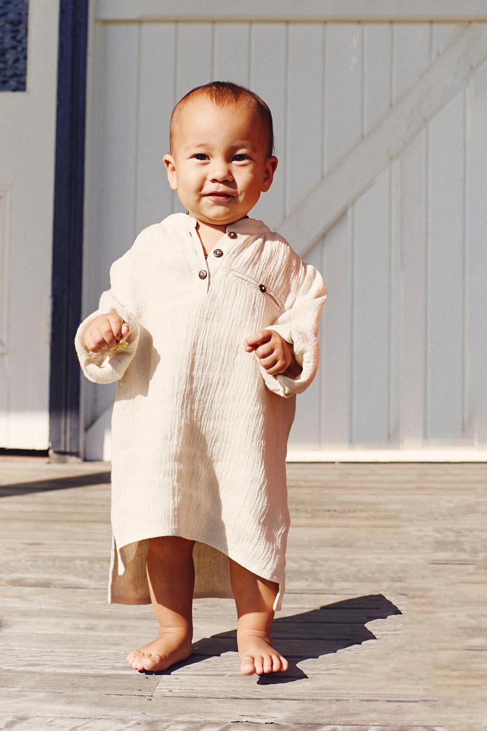 Meika Linen Toddler Tunic in Oatmeal