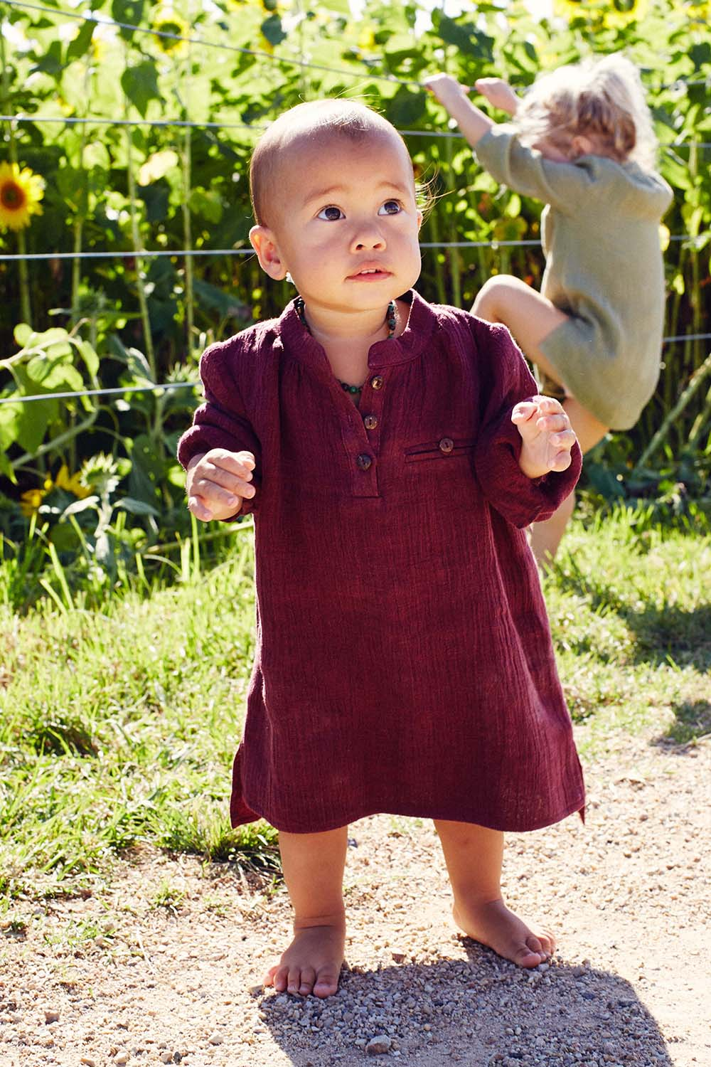 Meika Linen Toddler Tunic in Fig