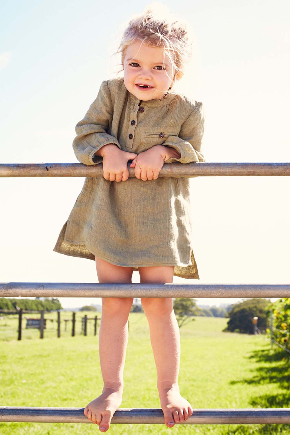 Meika Linen Toddler Tunic in Clover