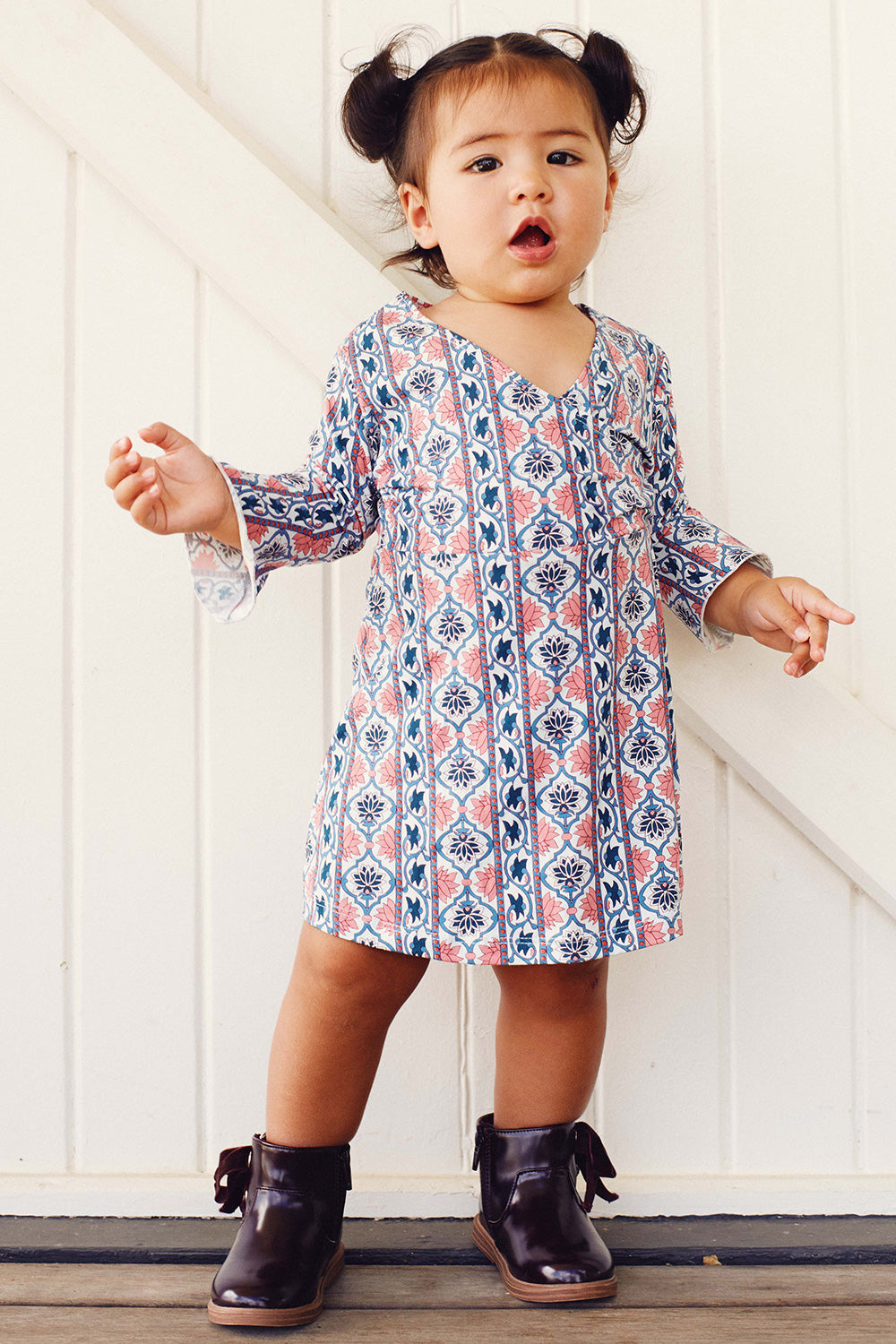 Harper Kiddies Dress in Sky