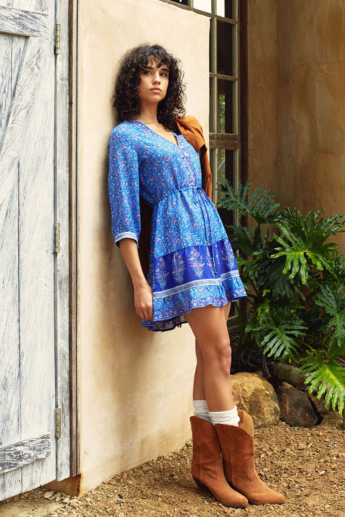 Wisteria Mini Dress in Moonlight Blue