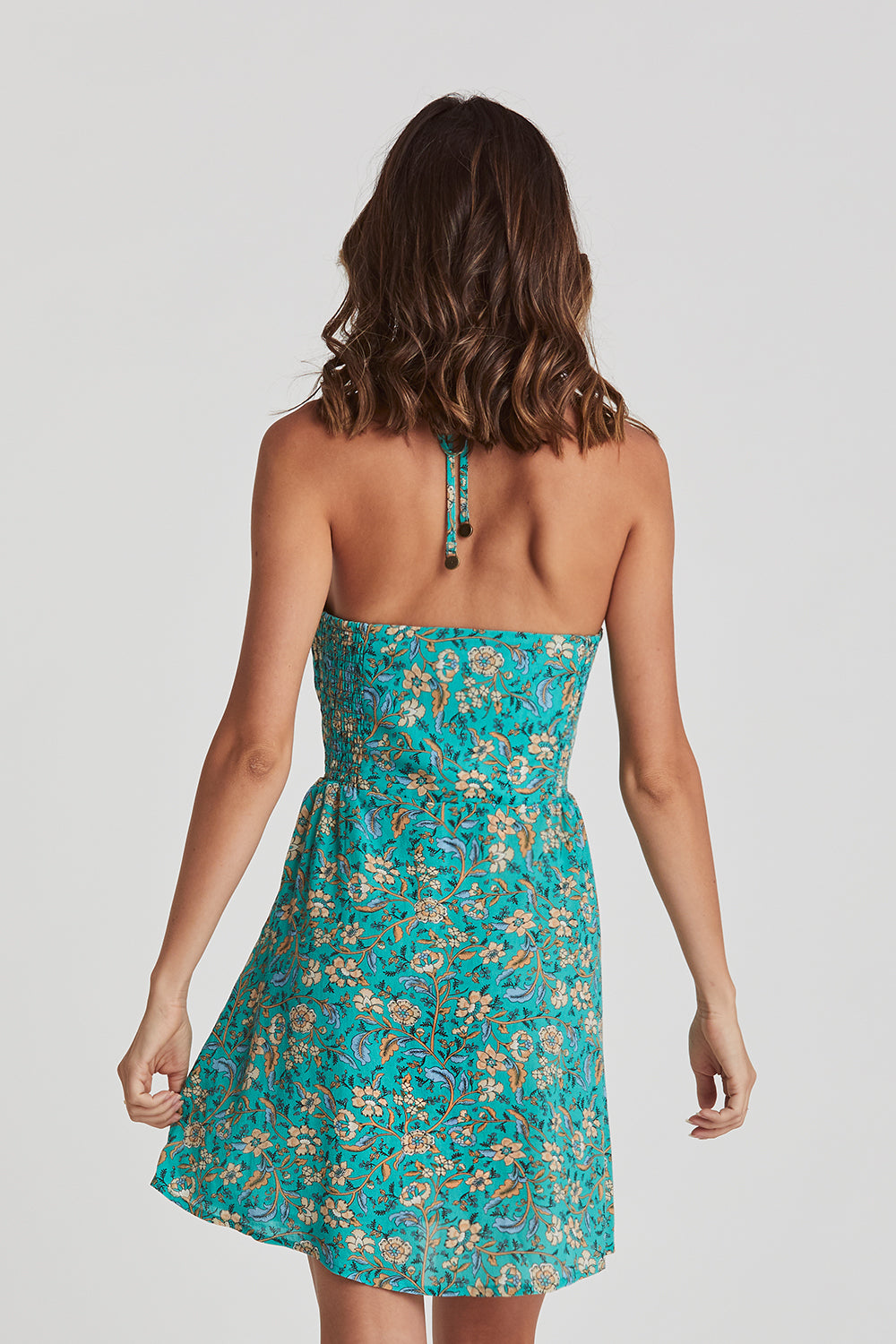 Daisy Chain Halter Dress in Poolside