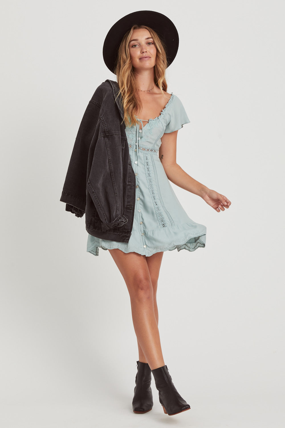 Dreamers Mini Dress in Misty Blue