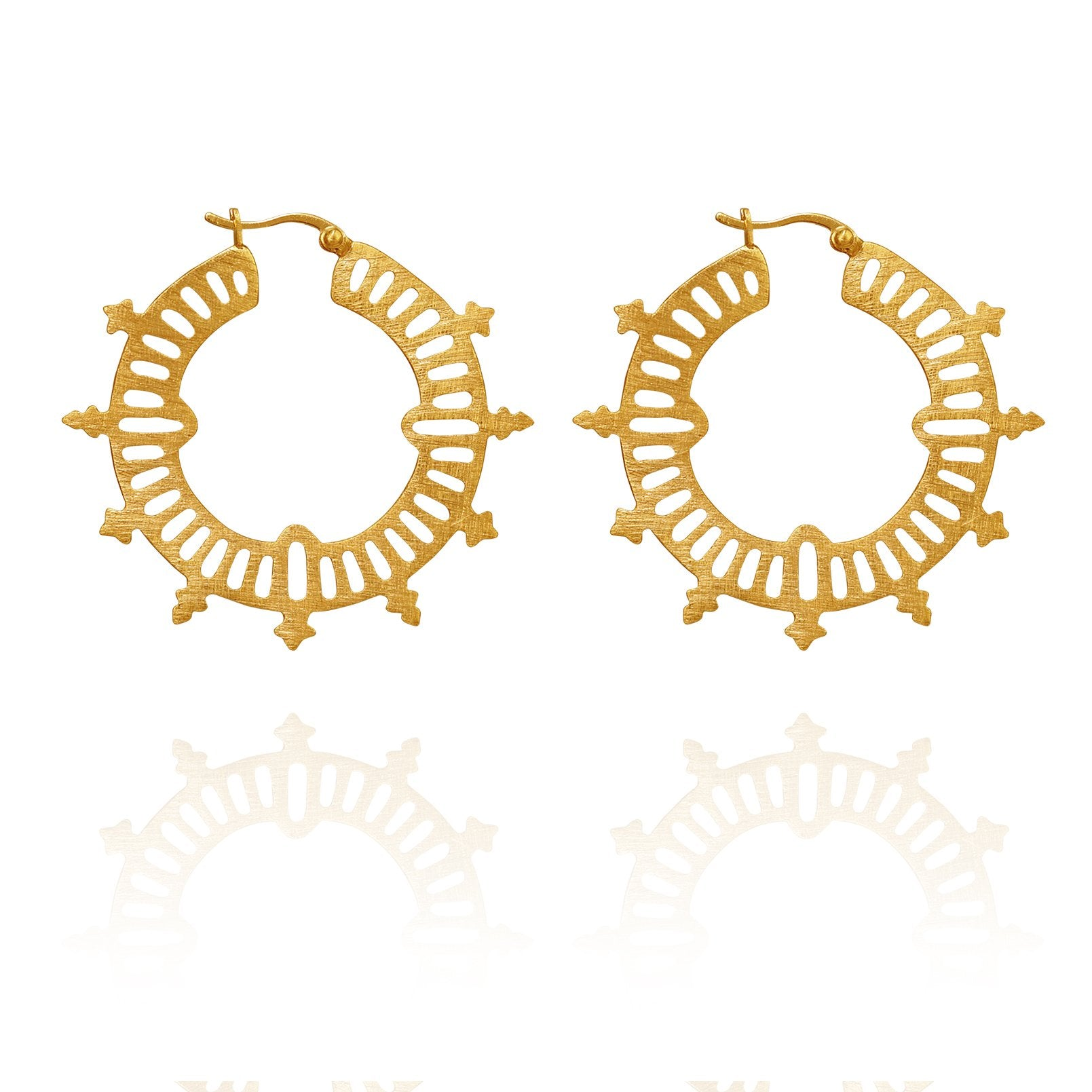 Temple of the Sun ~ Krista Hoop Earrings Gold