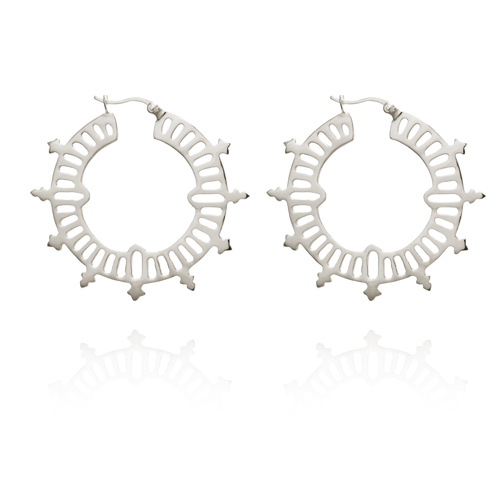 Temple of the Sun ~ Krista Hoop Earrings Silver