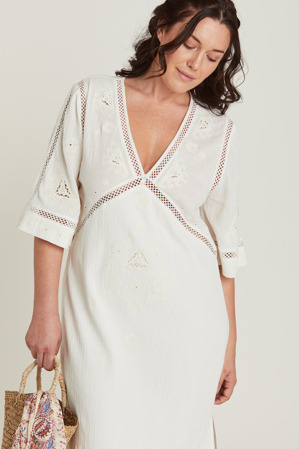 Lauren Kaftan Dress in Dove