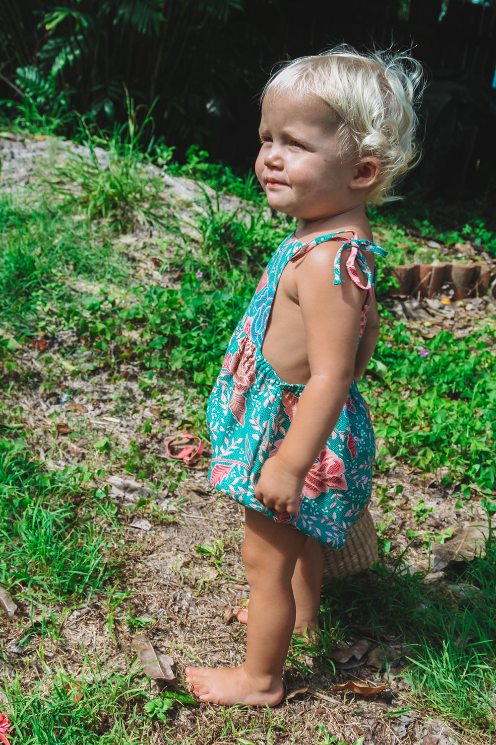 Leilani Baby Romper in Palms
