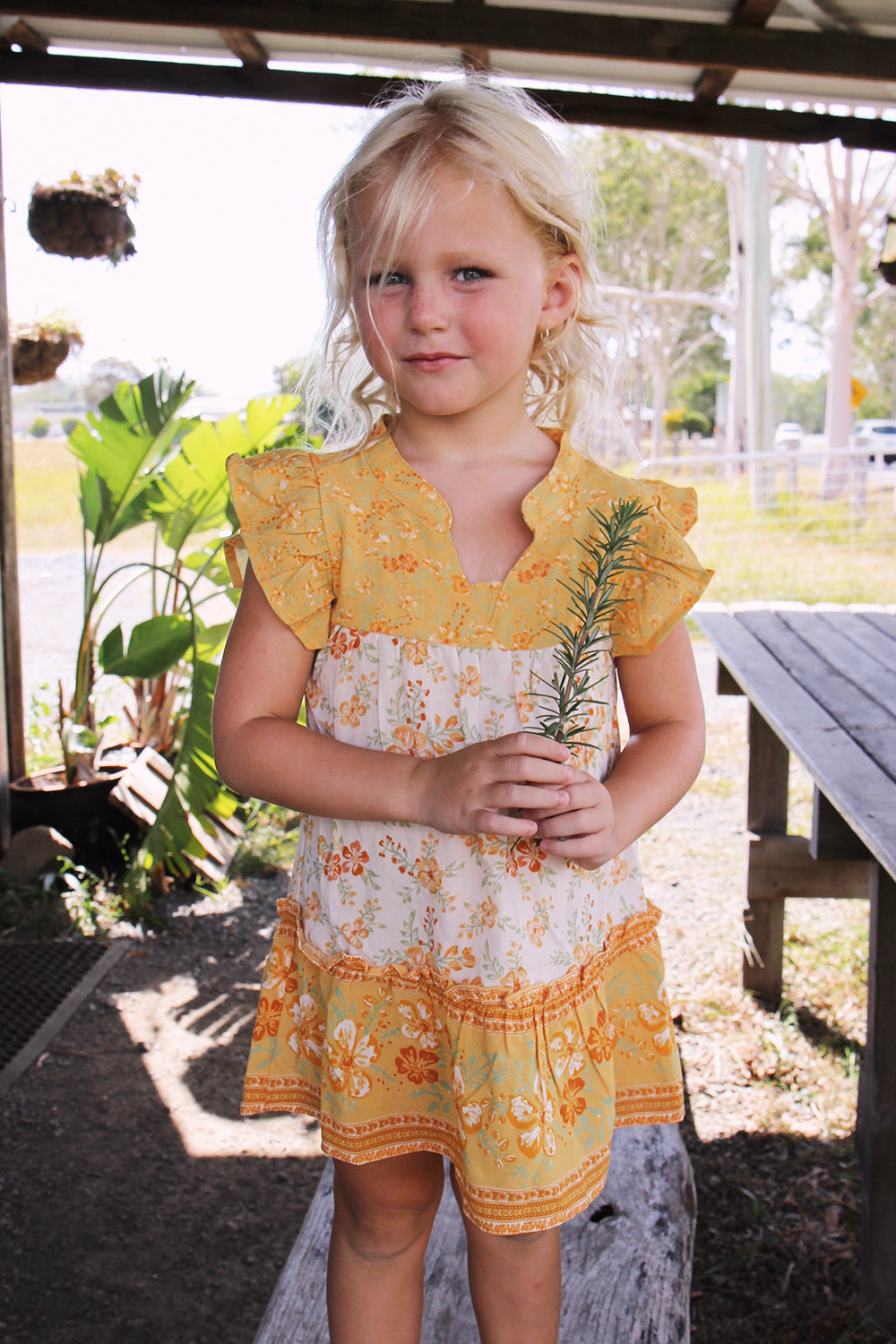 Lily Kiddies Dress in Lemon Drop