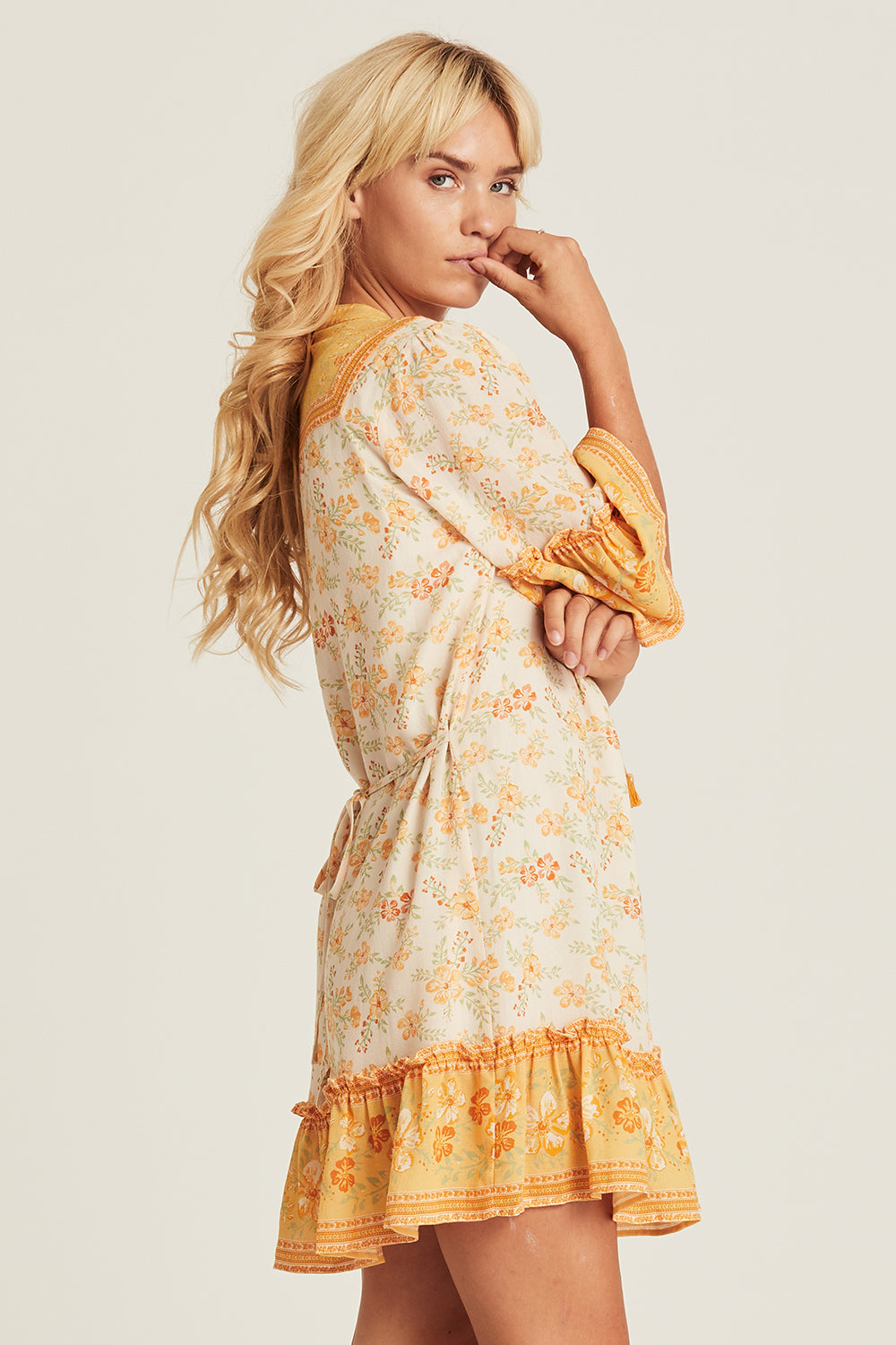 Lily Mini Dress in Lemon Drop