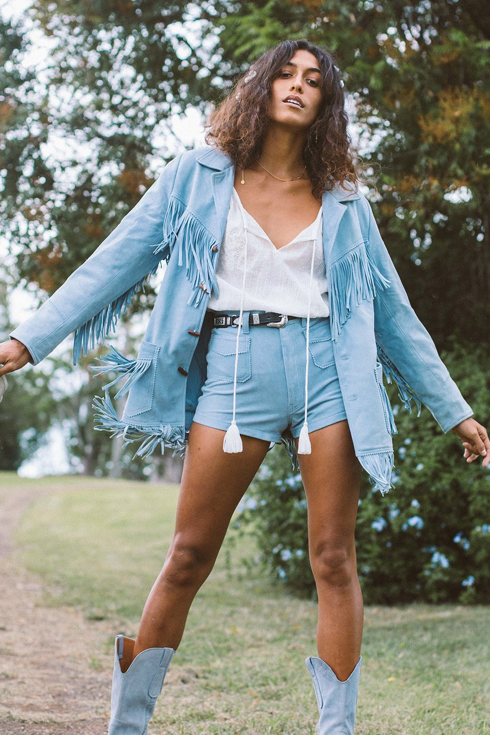 Lone Ranger Suede Shorts in Ash Blue