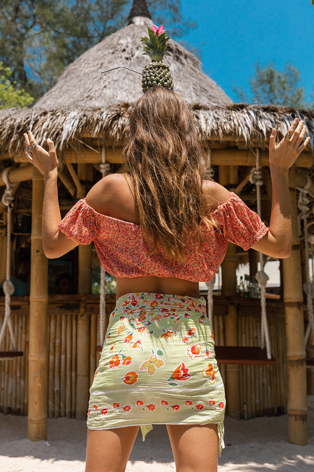 Castaway Crop Top in Hibiscus