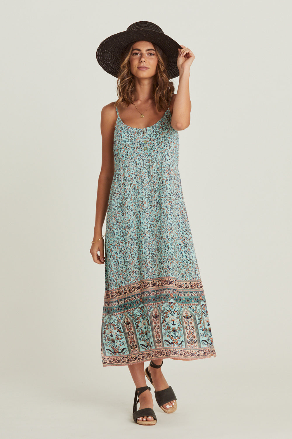 Island Slip Dress in Lagoon