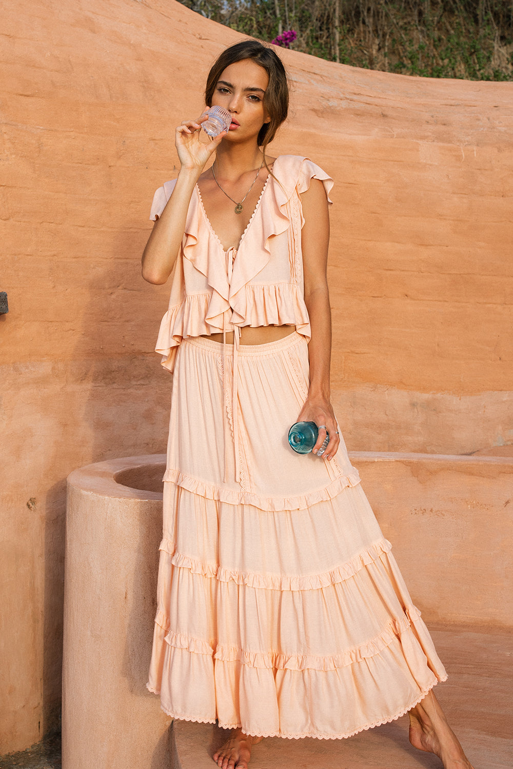 Lover Midi Skirt in Peach Pearl