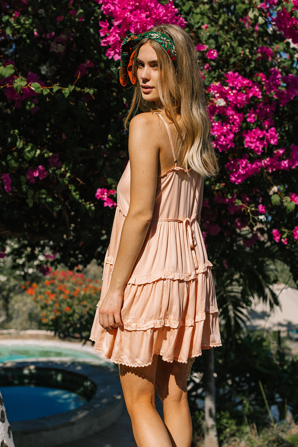 Lover Mini Dress in Peach Pearl