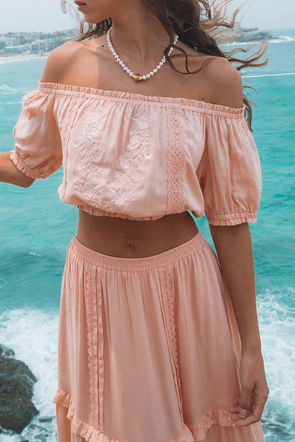 Lover Peasant Crop in Peach Pearl
