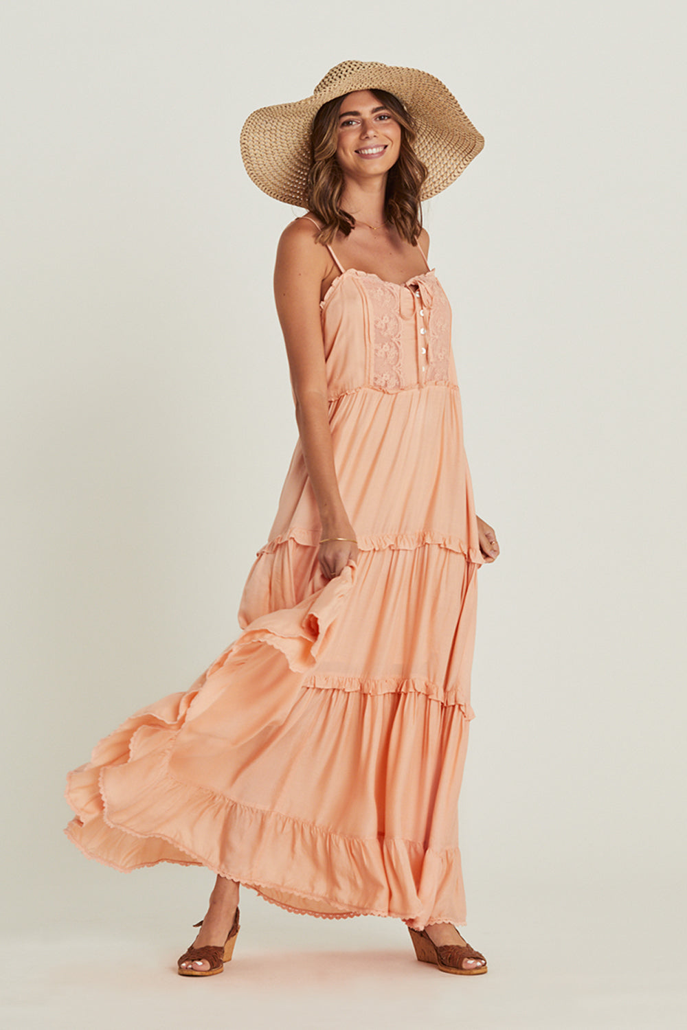Lover Sundress in Peach Pearl