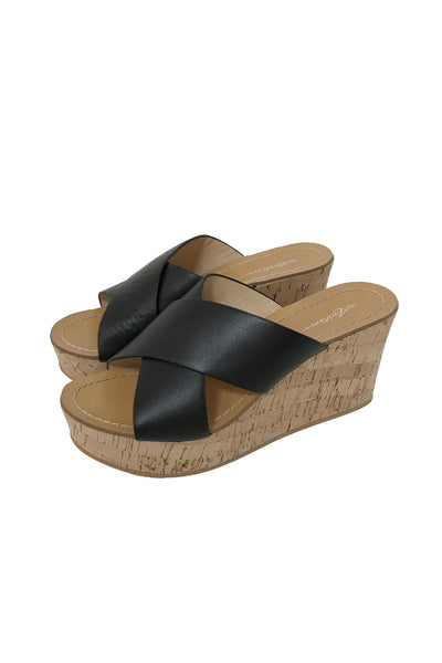 Marnie Cork Wedge in Black