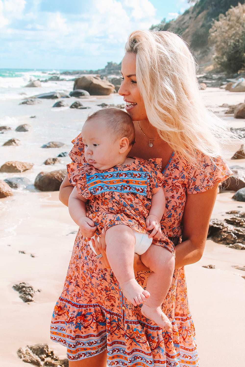 Camilla Baby Dress in Coral Seas