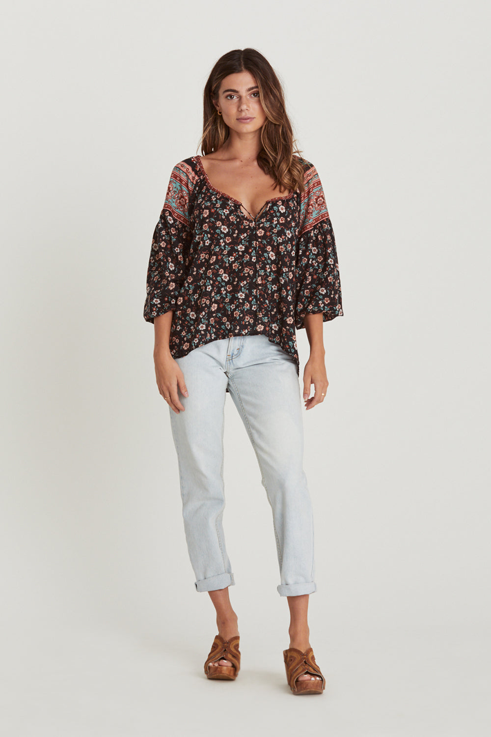 Camilla Blouse in Midnight Blooms