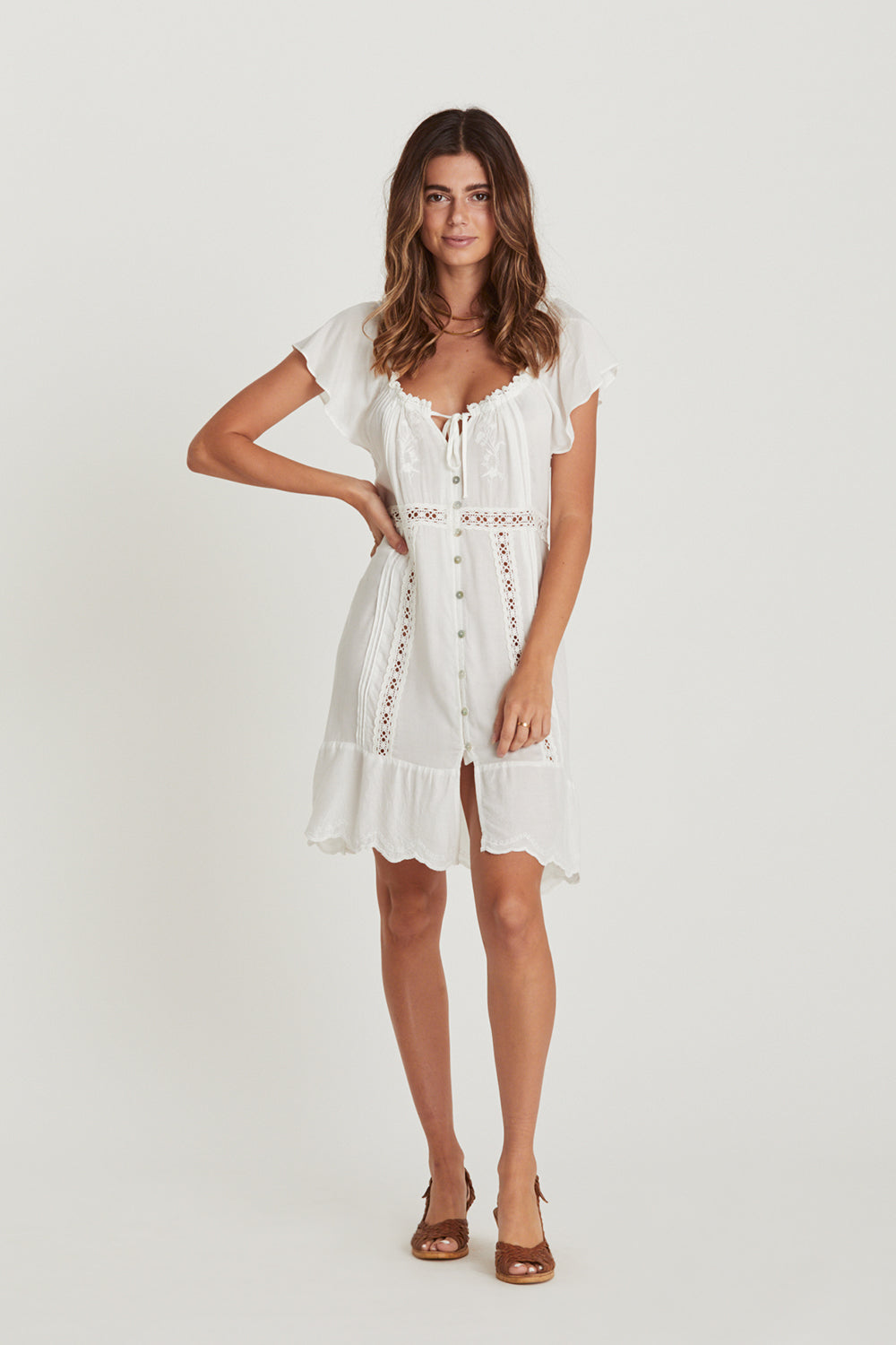 Dreamers Mini Dress in Whisper White