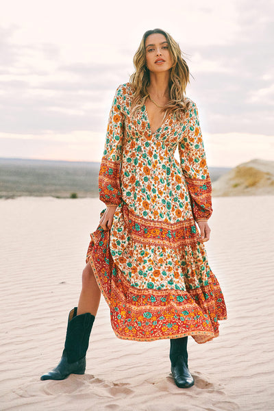 Phoebe Shirred Boho Dress in Rustic Honey