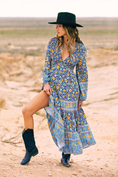 Phoebe Shirred Boho Dress in Waterfall