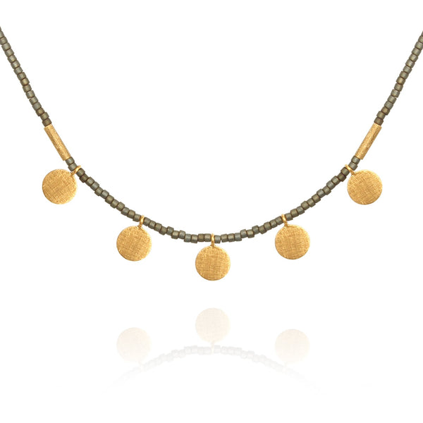 Temple of the Sun ~ Seed Bead Necklace with Gold Disc Matt Grey