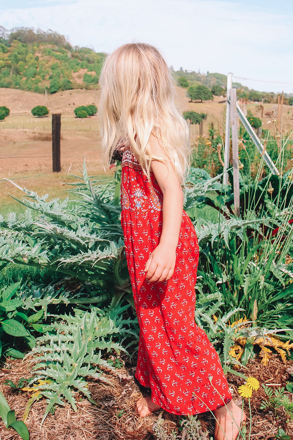 Serafina Kiddies Jumpsuit in Crimson Skies