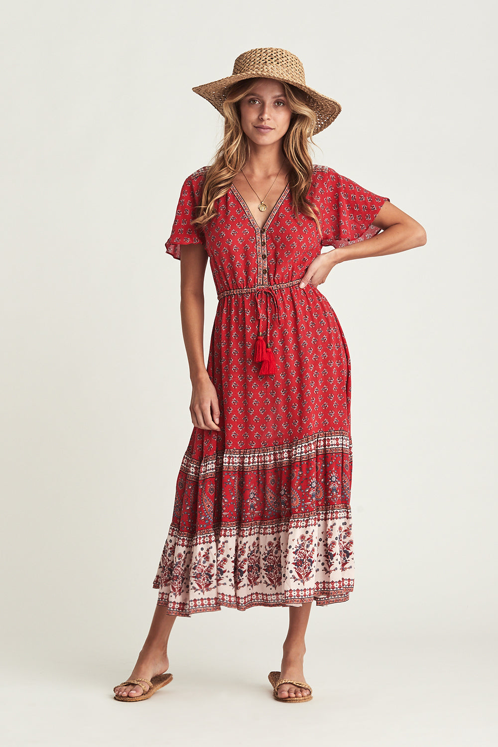 Serafina Sundress in Crimson Skies