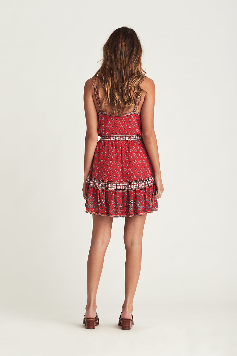Serafina Mini Skirt in Crimson Skies