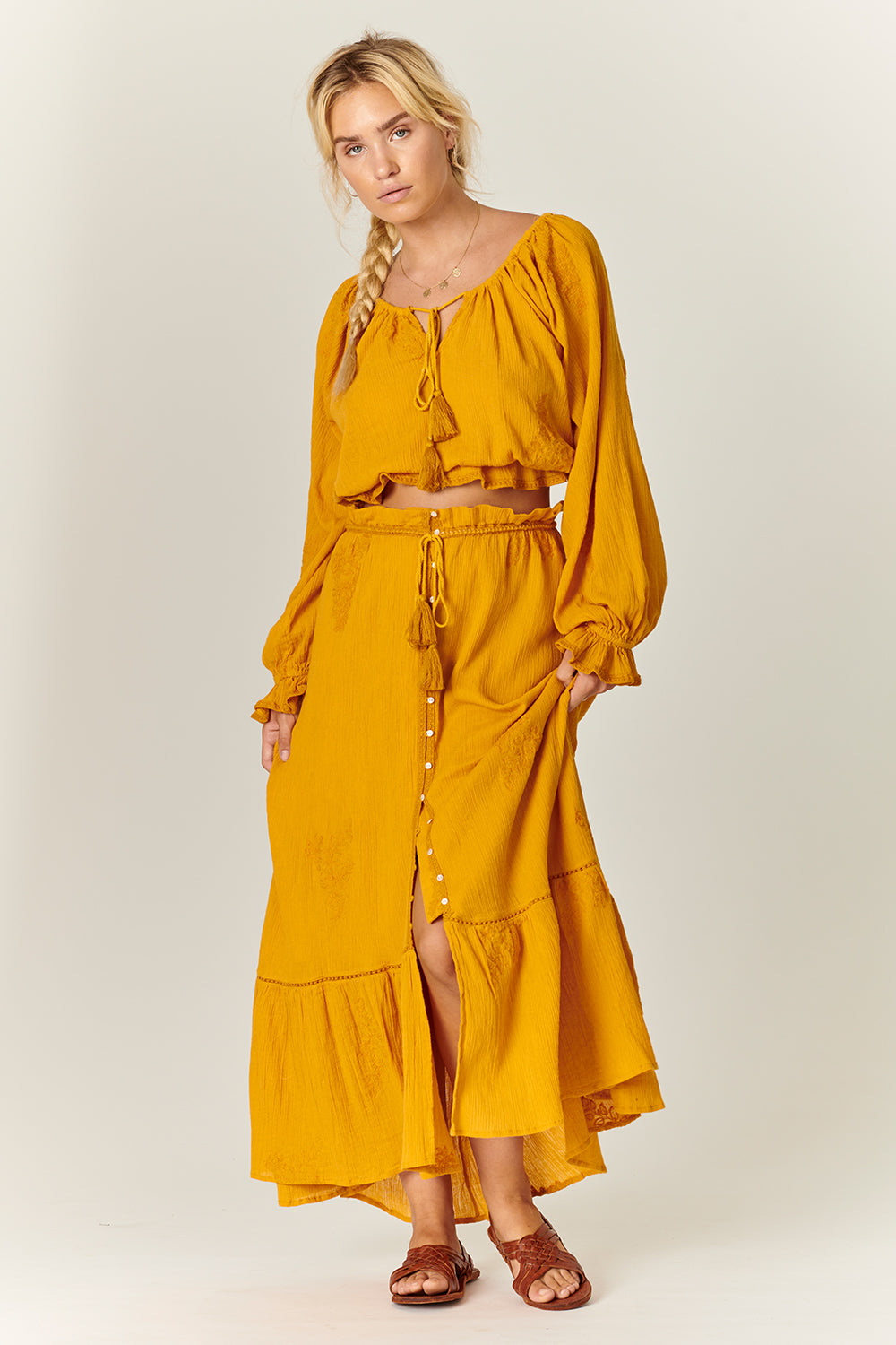 Stevie Midi Skirt in Sunflower