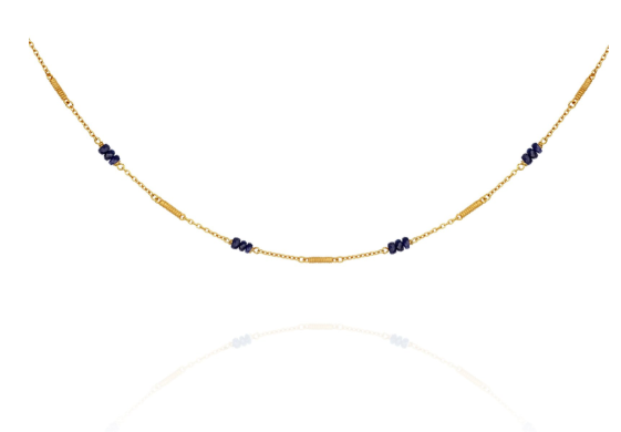 Temple of the Sun ~ Quinn Sapphire Necklace Gold