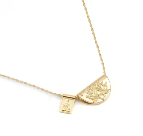By Charlotte ~ Gold Lotus & Little Buddha Short Necklace