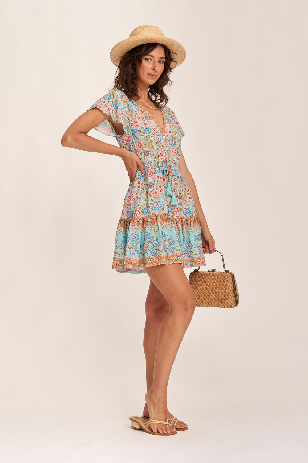 Florence Mini Dress in Aqua