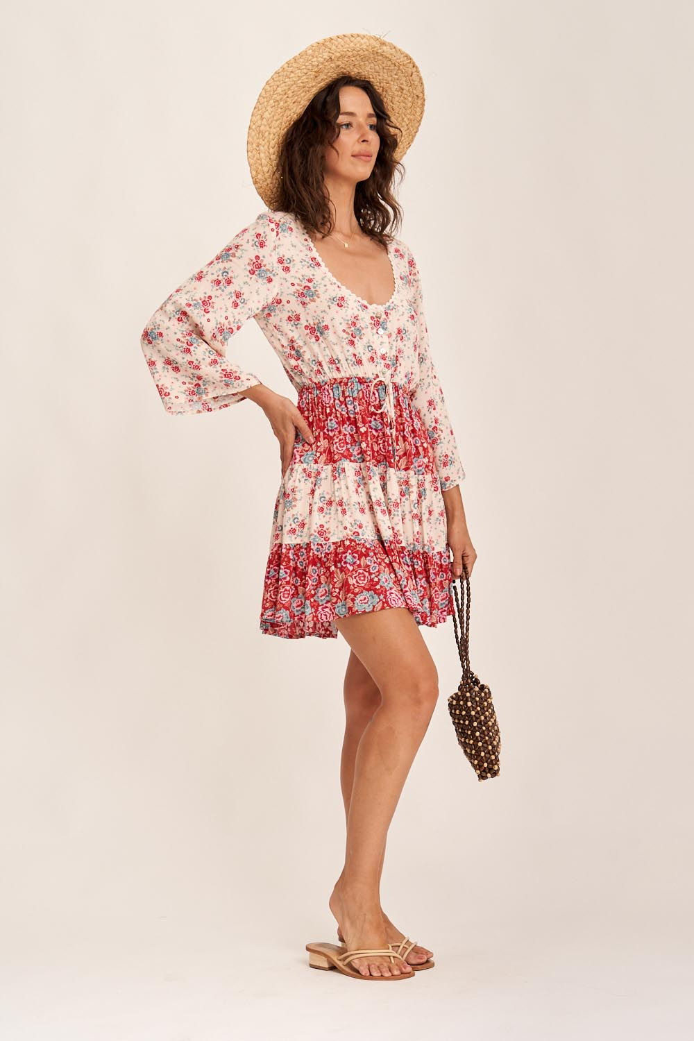 Harmony Mini Dress in Strawberries & Cream