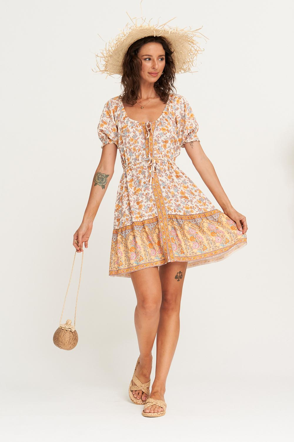 Honey Mini Dress in Coconut Cream