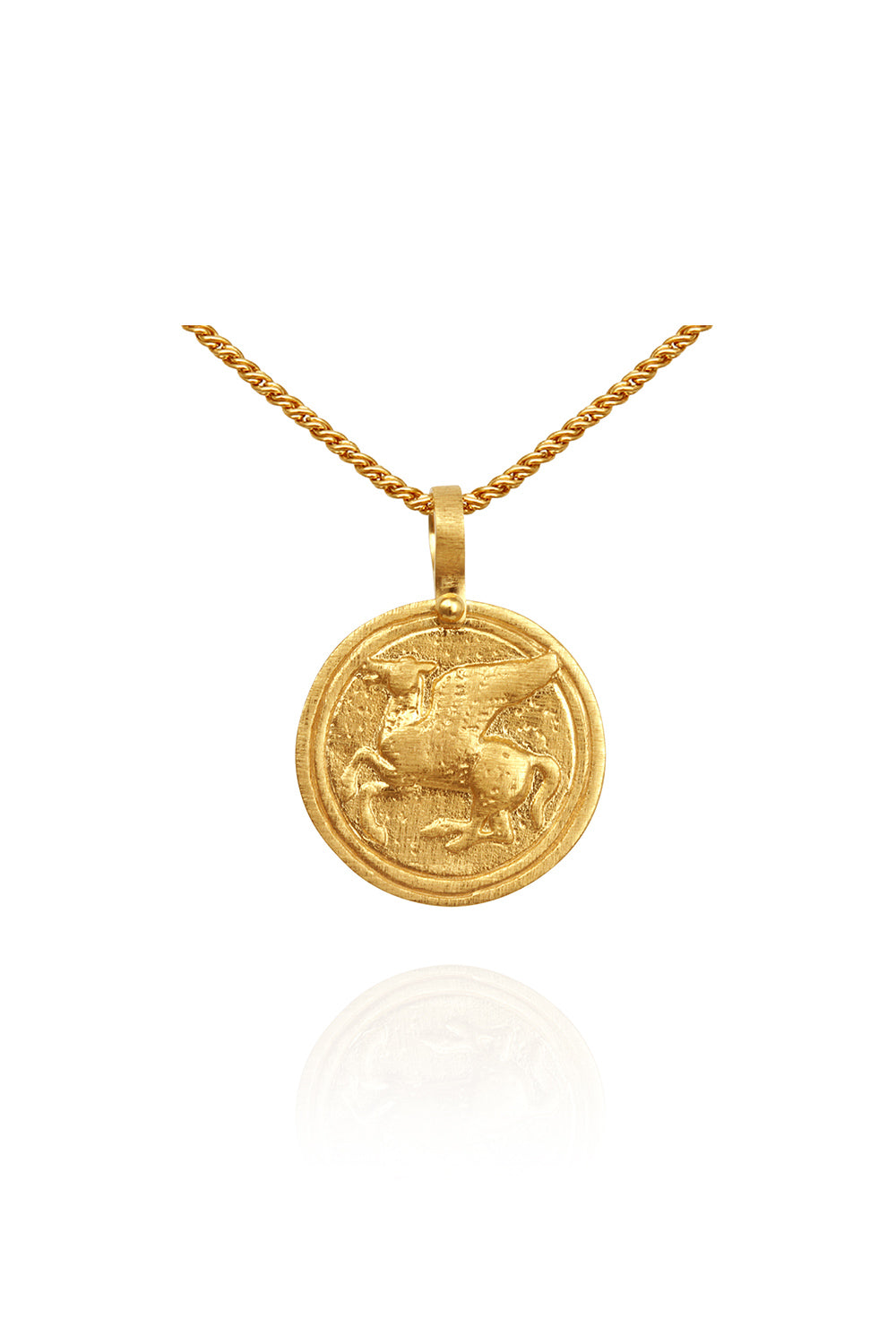 Temple of the Sun ~ Pegasus Coin Necklace Gold