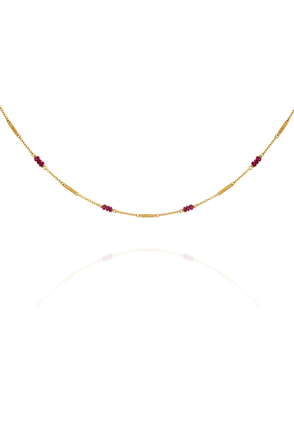 Temple of the Sun ~ Quinn Ruby Necklace Gold