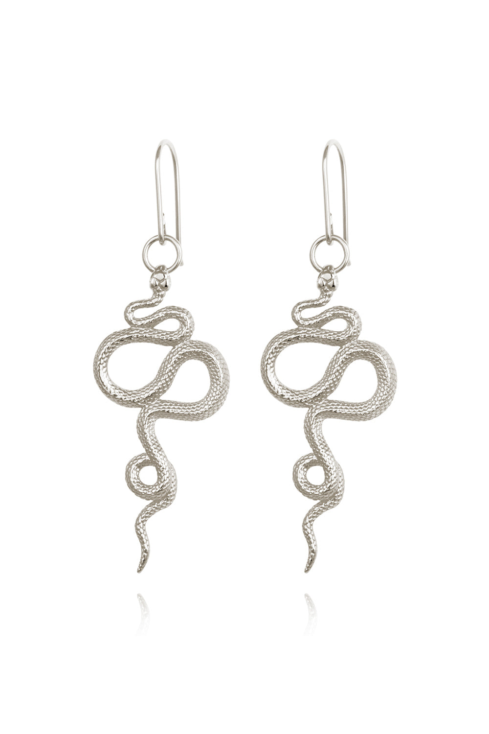 Temple of the Sun ~ Snake Earrings in Silver