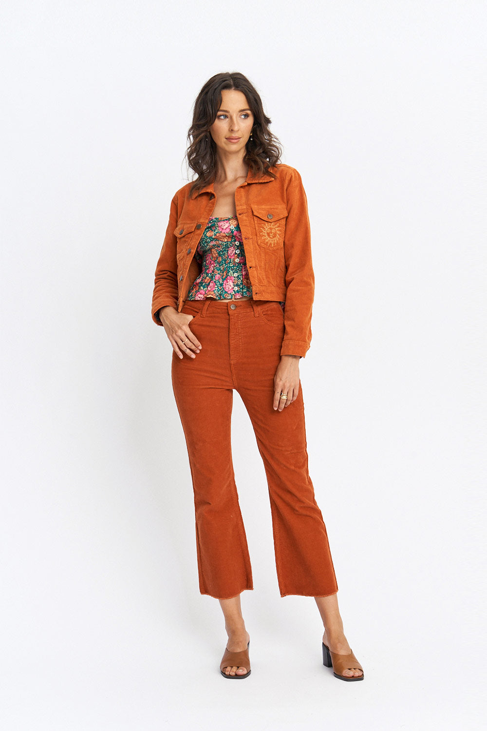 Savannah Cropped Jeans in Copper