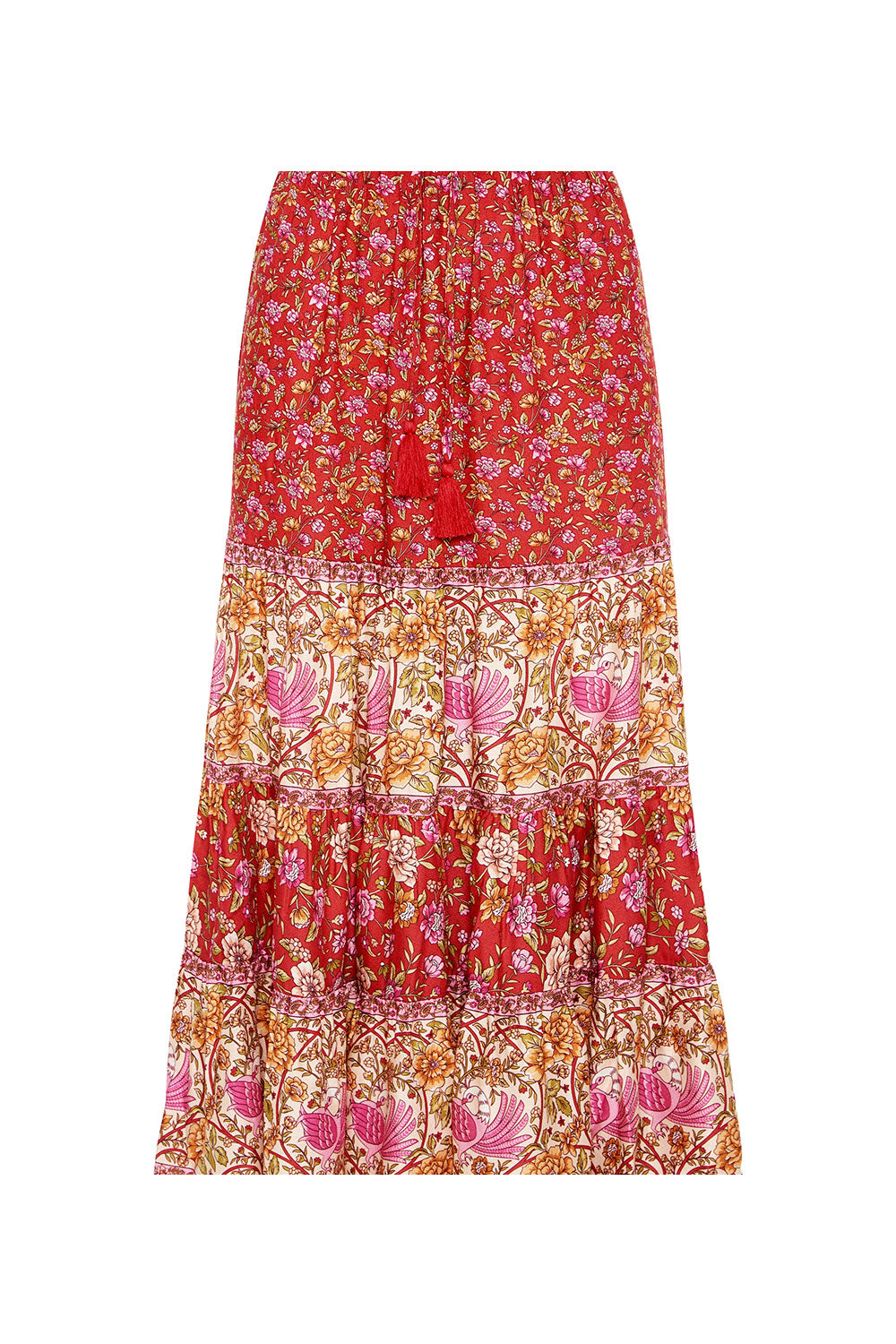 Jasmine Midi Skirt in Campari