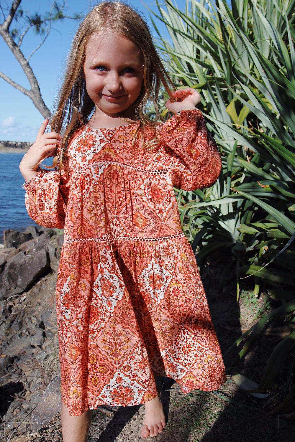 Zephyr Littles Dress in Rhubarb