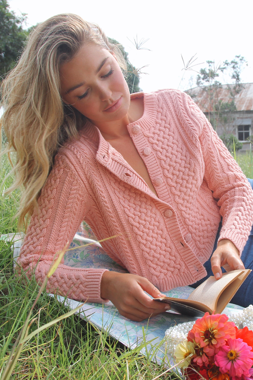 Daisy Cardigan in French Rose