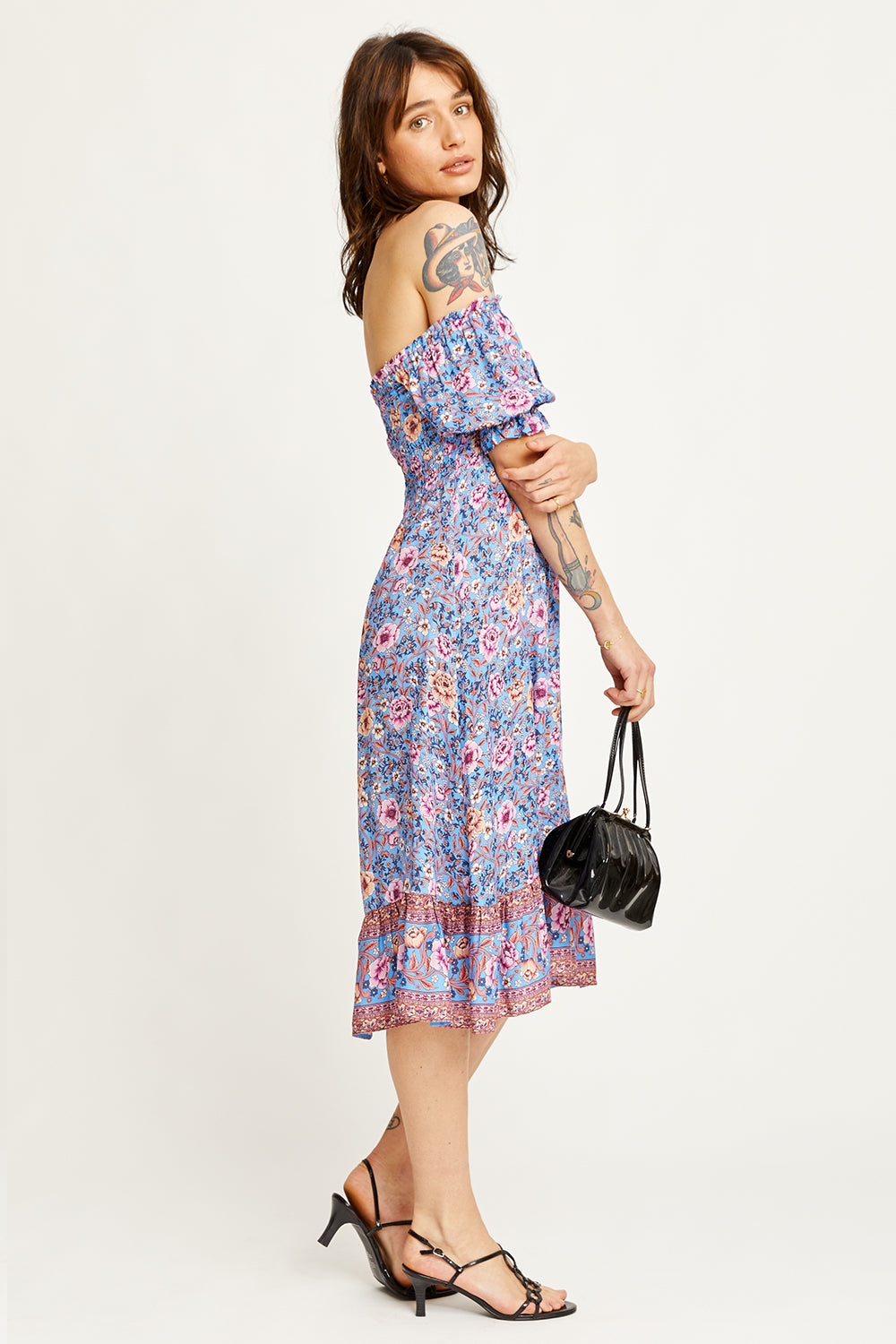 Juliette Shirred Midi Dress in Bluebelle