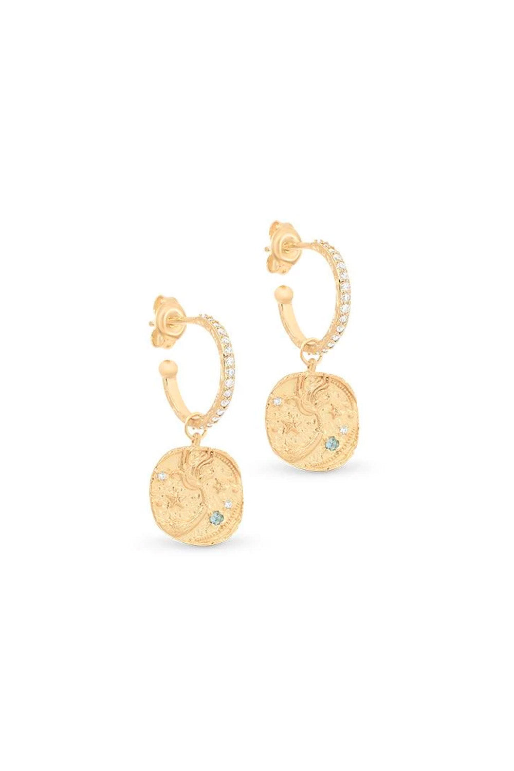By Charlotte ~ Goddess of Water Hoops in Gold