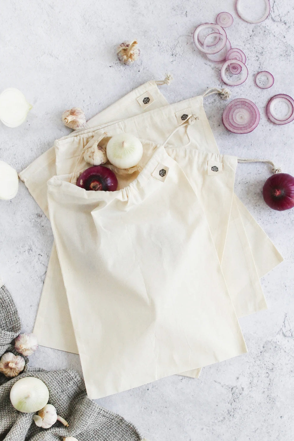 Ever Eco ~ Organic Cotton Muslin Produce Bag 4pk