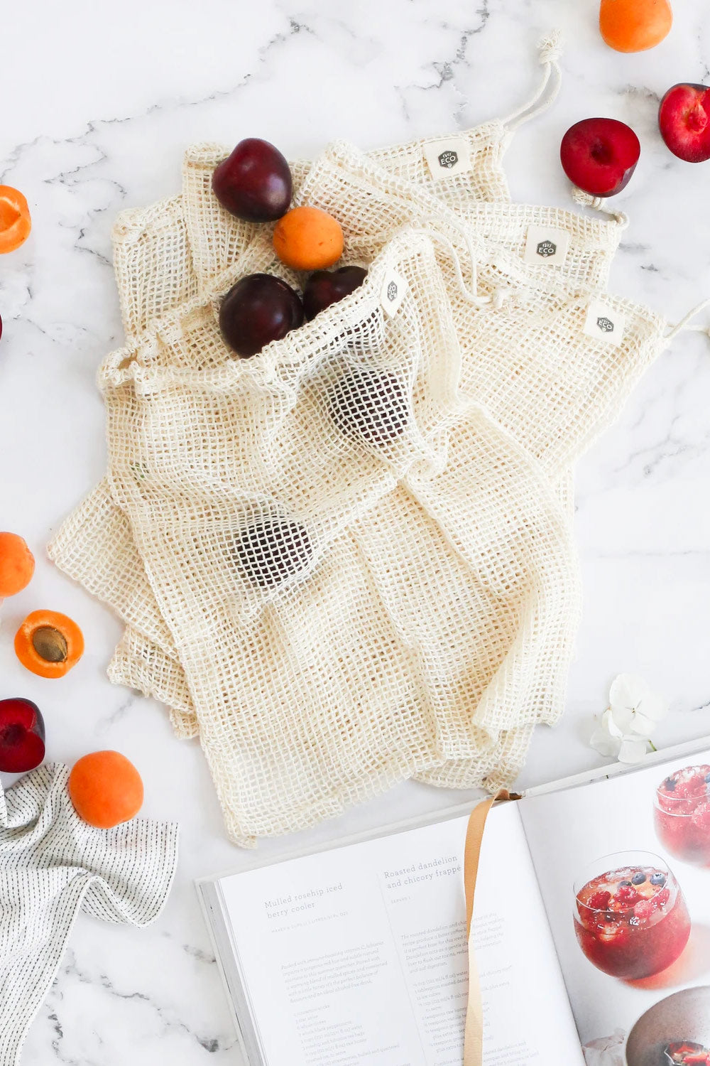 Ever Eco ~ Organic Cotton Net Produce Bags 4pk