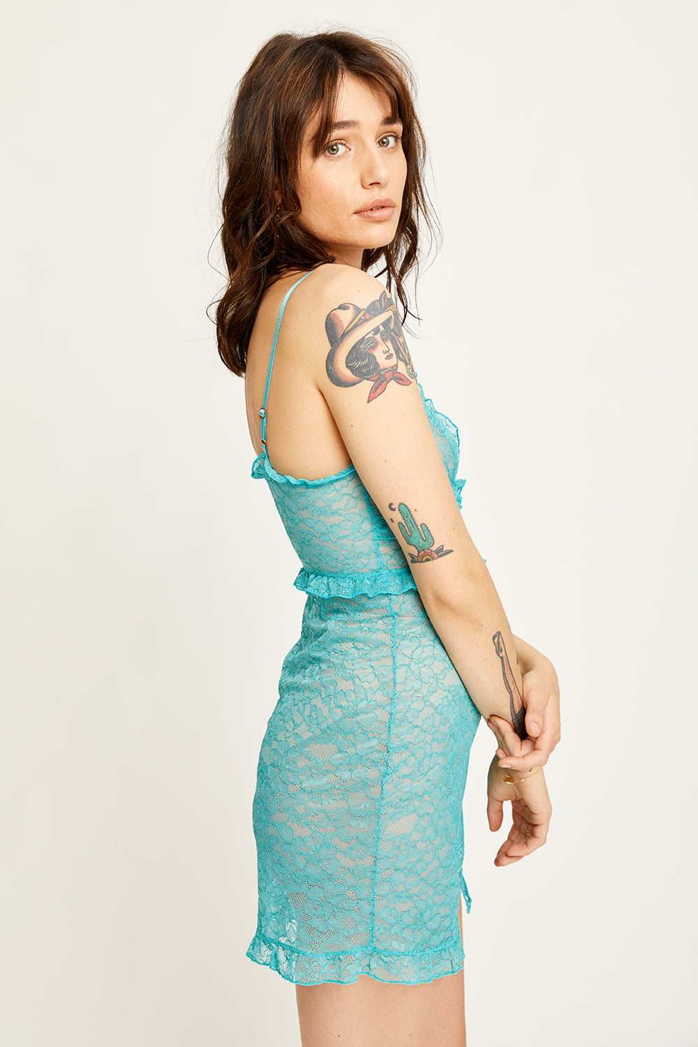 Cherry Slip Dress in Teal