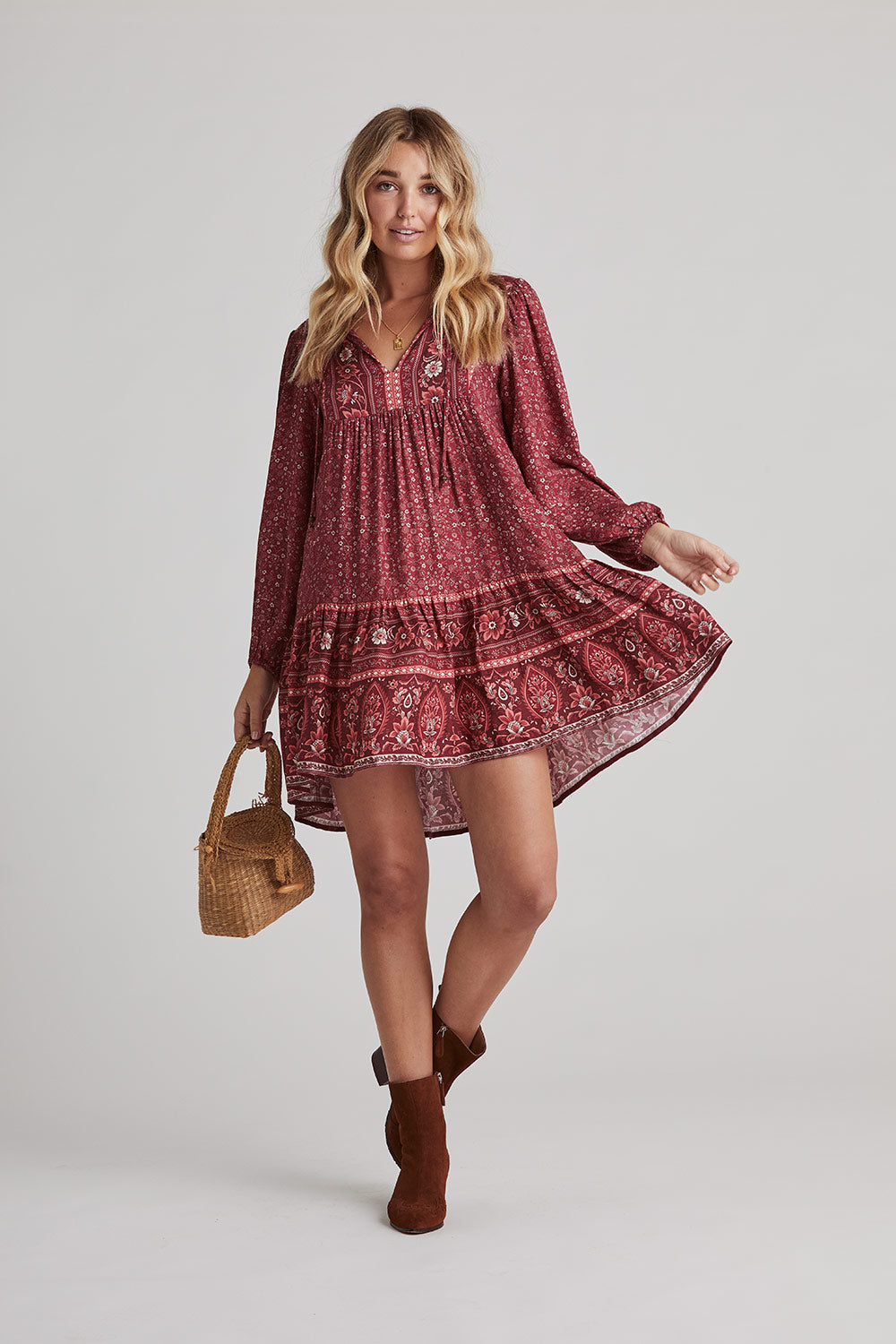Esmee Tunic Dress in Ruby